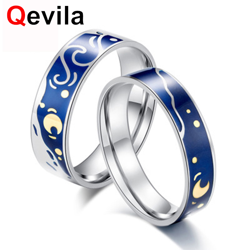 Qevila Fashion Plated 925 Sterling Silver Ring Van Gogh Starry Sky Moon Wedding Engagement Ring For Women Men Lover Jewelry GiftQevila Fashion Plated 925 Sterling Silver Ring Van Gogh Starry Sky Moon Wedding Engagement Ring For Women Men Lover Jewelry Gift