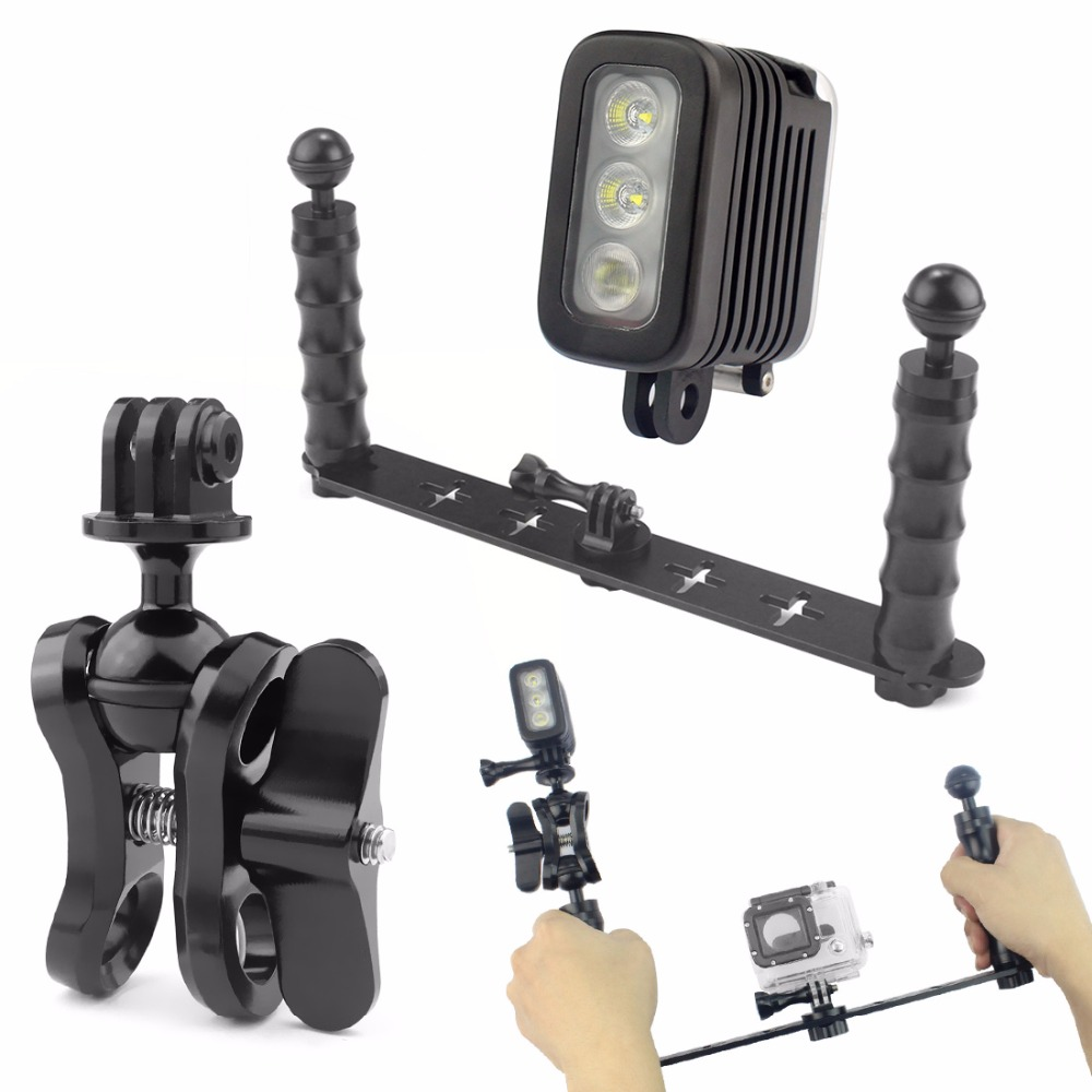 цена на Handheld Selfie Monopod Diving Underwater Mount + LED Fill Light for GoPro 3/3+/4 Xiaoyi SJ4000 SJ5000 SJ6000 Camera Accessory