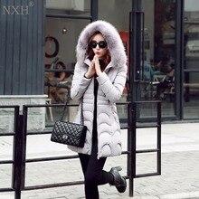 Nxh 2017 новое прибытие женские пальто хлопка теплая ladys куртки с капюшоном с меховой тонкий зима clothing мода топы ветровка