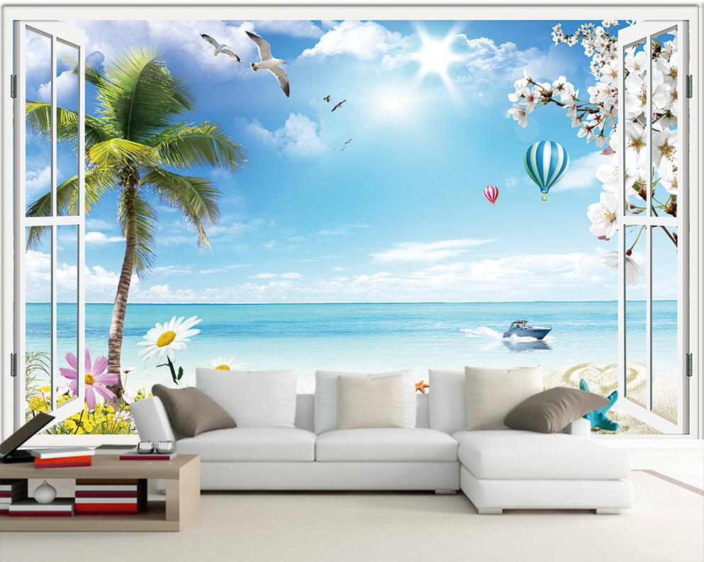 Custom photo 3d room wallpaper mural seaside scenery outside window painting 3d wall murals wallpaper for