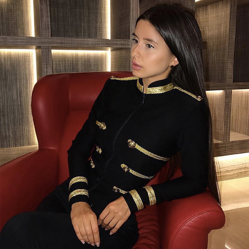 2019 New Long Sleeve Fashion Club Coats Spring Women Slim   Trench   Coats Sexy Black Color Front Zipper Celebrity Party Coats