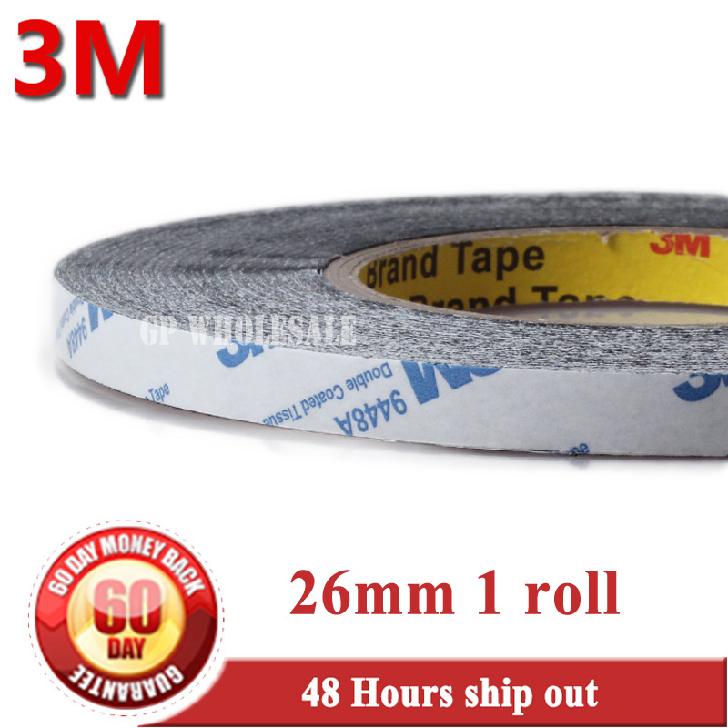 26mm* 50 meters 3M BLACK 9448 Double Sided Adhesive Tape Sticky for LCD /Screen /Touch Dispaly /Housing /LED #903 1x 76mm 50m 3m 9448 black two sided tape for cellphone phone lcd touch panel dispaly screen housing repair