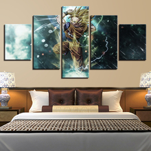 Canvas Painting Home Decor 5 Pieces Cartoon Animation Dragon Ball Pictures HD Prints Poster For Living Room Wall Art Framework