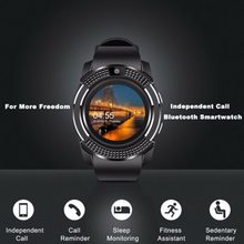 2019 NEW Smart Watch V8 Men Bluetooth Sport Watches Women Ladies Rel gio Smartwatch with Camera Sim Card Slot Android Phone(China)