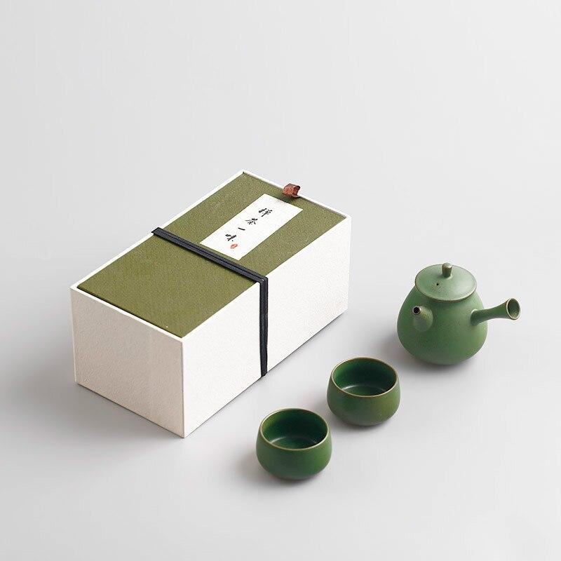 Ensemble de thé Kung Fu en céramique de Style japonais théière en argile Portable passoire à thé de deux tasses accessoires de thé chinois