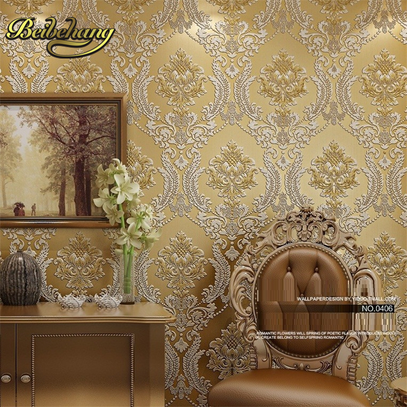 beibehang Luxury Classic Wall Paper Home Decor Background Damask Golden Floral covering 3D velvet Wallpaper Living