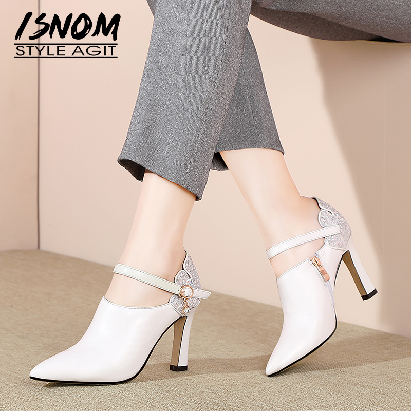 ISNOM Ankle Strap Leather Pumps Women Pointed Toe Footwear Fashion High Heels Shoes Female Crystal Bling