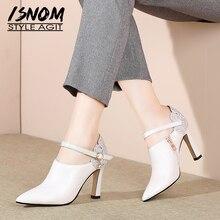 足首ストラップ革パンプス女性ポインテッドトゥ靴ファッションハイヒールの靴女性のクリスタルブリンブリン靴の女性の春 ISNOM