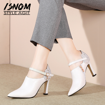 ISNOM Ankle Strap Leather Pumps Women Pointed Toe Footwear Fashion High Heels Shoes Female Crystal Bling Shoes Woman Spring