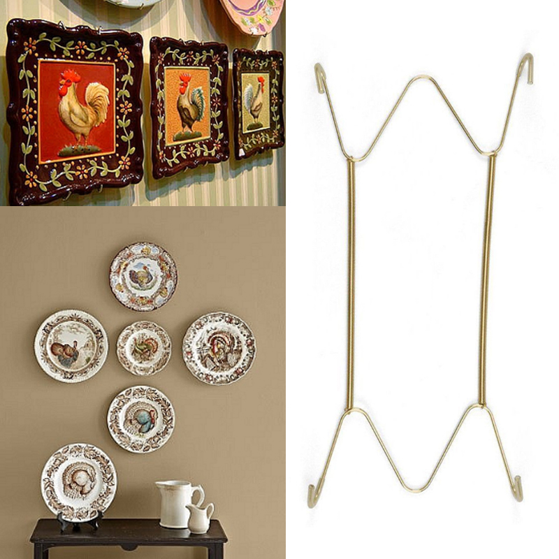 1PC New High Quality For Home Decor Stainless Steel Holder Plate Hooks Wall Spring Display Decorative Dish Hook Decoration