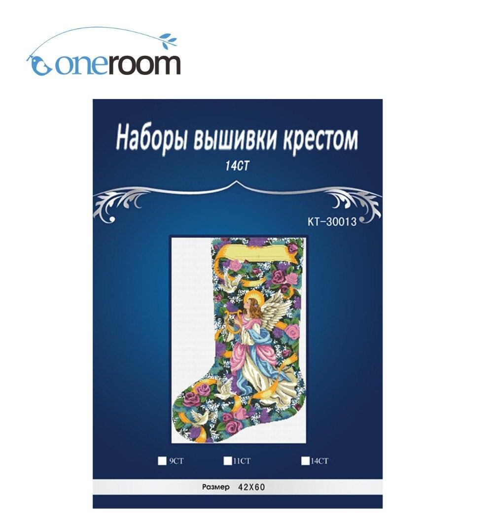 Vánoční ponožka 5 styl Rozměry malba domů Dekoračně počítané bílé plátno Cross Stitch kity14ct vyšívání Set3thth3th