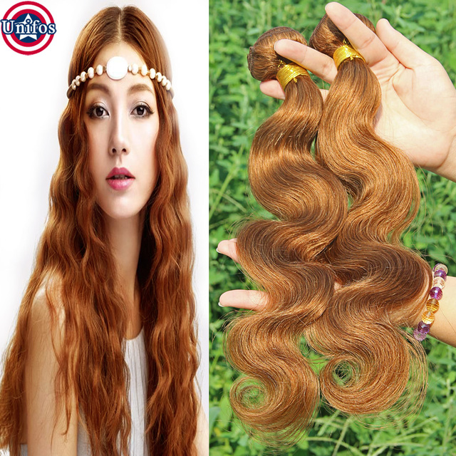 Auburn Body Wave Peruvian Virgin Hair Light Auburn Weave Colour 30