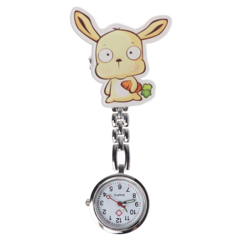 New Arrival Fashion Nurse Watch Quartz Pocket Watches Hang Clip Chest Charm Jewelry Clock Cartoon Cute Rabbit Medical Supplies