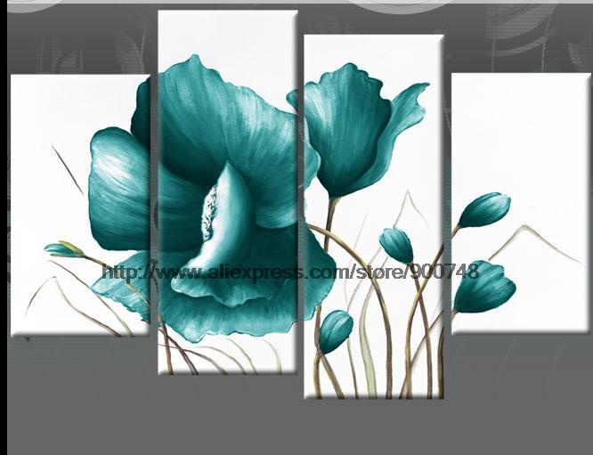 Large Teal Canvas Pictures Floral Flower Painting Wall Art Oil Painting Hall Decoration Painting Wall Mural
