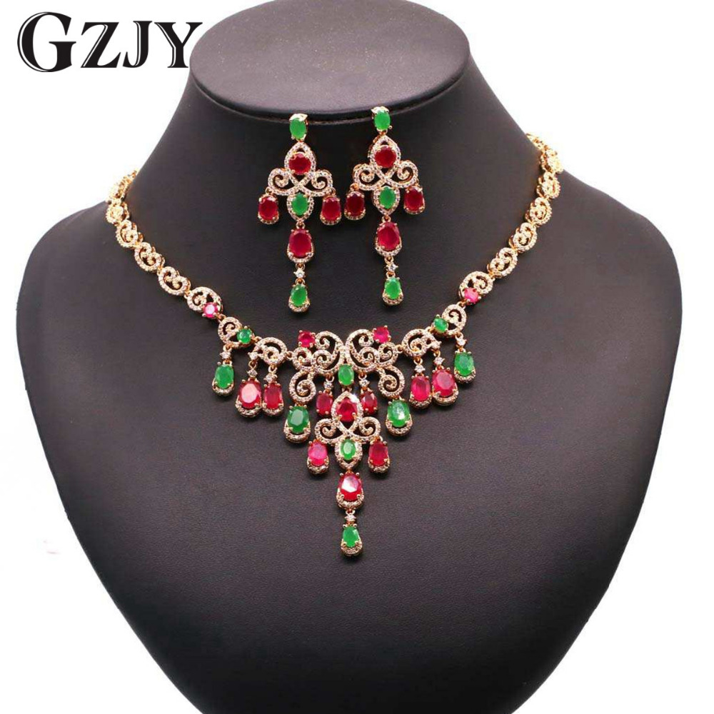 GZJY Gorgeous Bride Jewelry Sets Gold Color Zircon Necklace Earring Set For Women Wedding Anniversary Beautiful Gift 2colors gzjy gorgeous wedding jewelry sets multicolor zircon necklace ring bracelet earring gold color for women wedding birthday gift