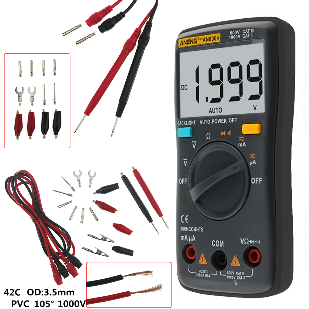 Dc Lcd Digital Multimeter Multimetro Profissional Voltmeter Wiring Ammeter An8004 1999 Counts Voltage Tester Ac 750 1000