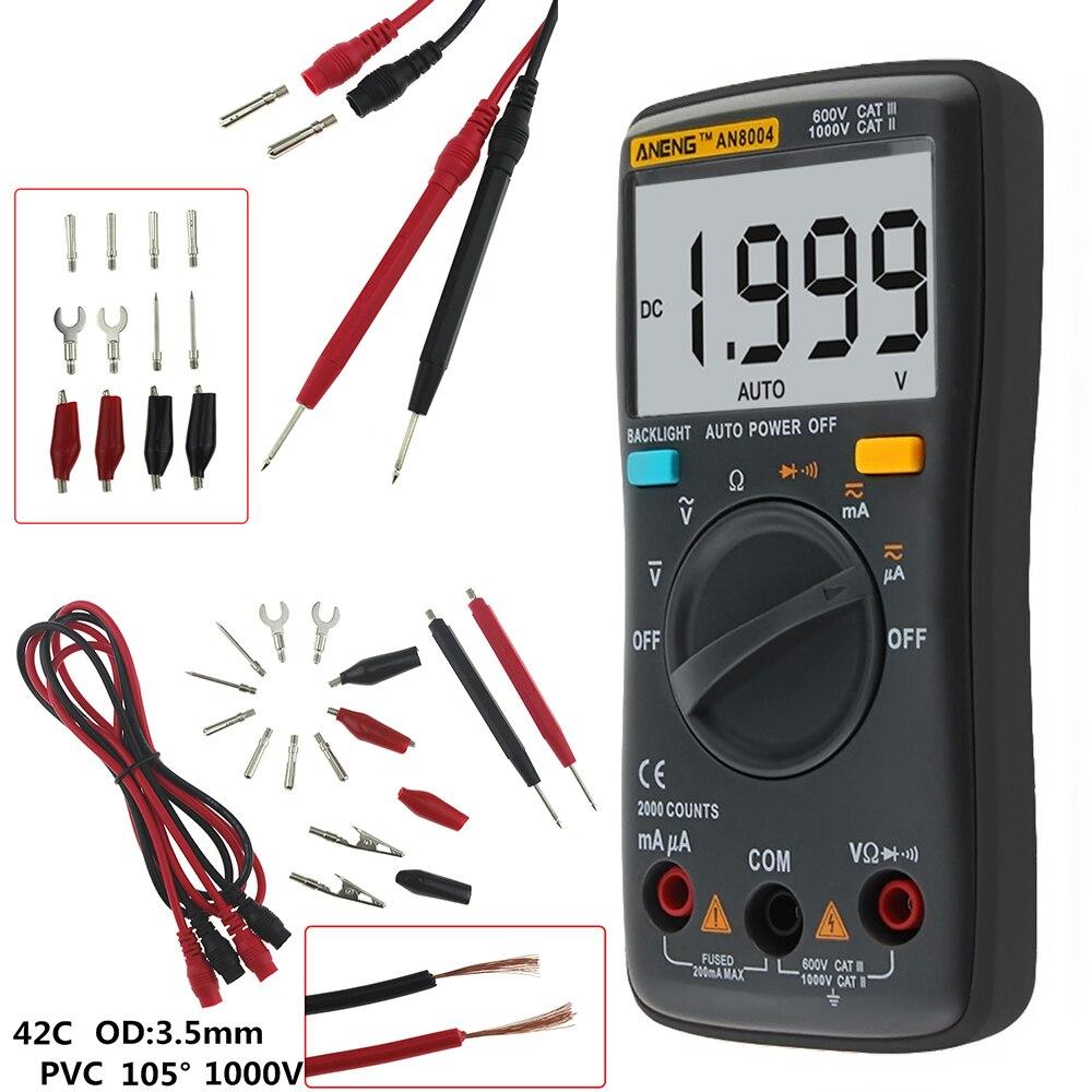 AN8004 1999 counts LCD Digital Multimeter Voltmeter Ammeter Voltage Tester DC / AC 750/1000 V and Volt Ohmmeter Tester цена