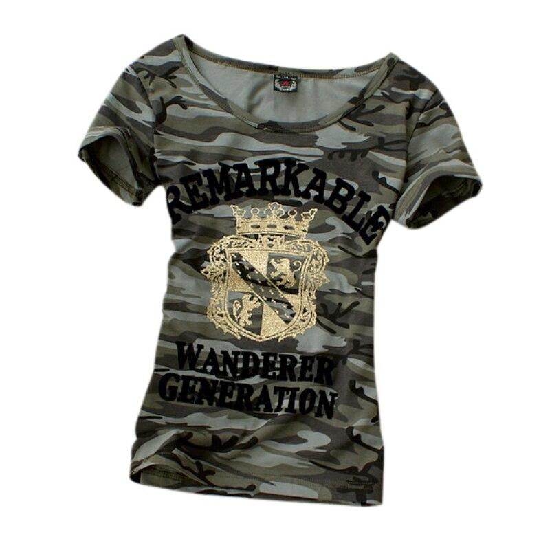 Summer Tops Grown Pattern T Shirt Women Camouflage Military Uniform Slim Tee Shirt Femme Plus Size Camisetas Mujer