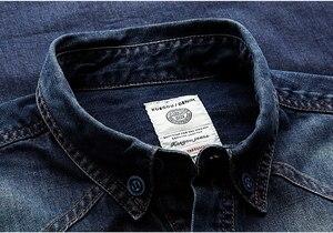 Image 3 - KUEGOU 2019 otoño 100% Camisa vaquera azul de algodón camisa de vestir para hombres botón Casual Slim Fit manga larga para hombre moda marca blusa 15005