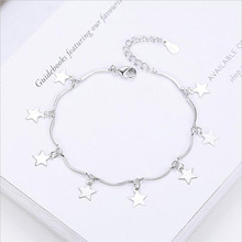 TJP Fashion Women Anklets Jewelry Trendy Star 925 Silver Bracelet For Girl Lady Engagement Party Bijou Female Accessories