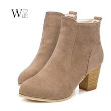 Autumn & winter short cylinder boots high heels boots shoes Martin boots women ankle boots Side  zipper  thick scrub