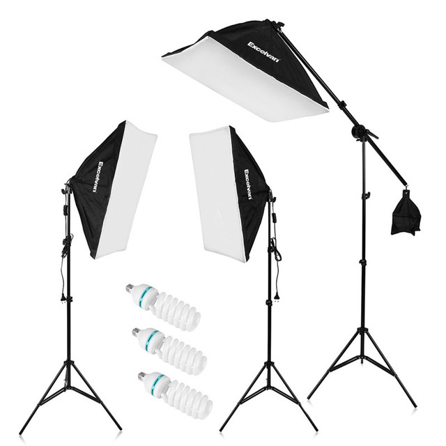 "Craphy 2000W Photo Studio kits LED Continuous Lighting Kit 20""x25"" Auto PopUp Softbox 80"" Light Stand 135w LED Lamp  In DE US"