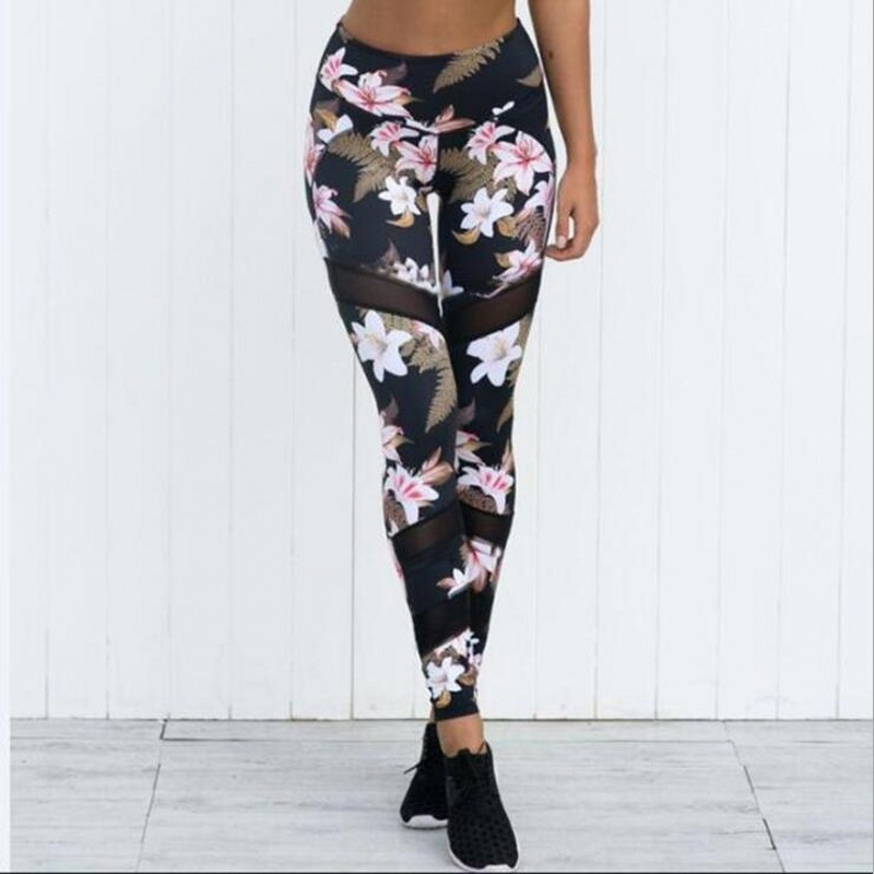 New Mesh insertion Flower print Leggings Women High Waist Fitness Leggings Workout Trousers Stretch Sportswear Pants Leggins