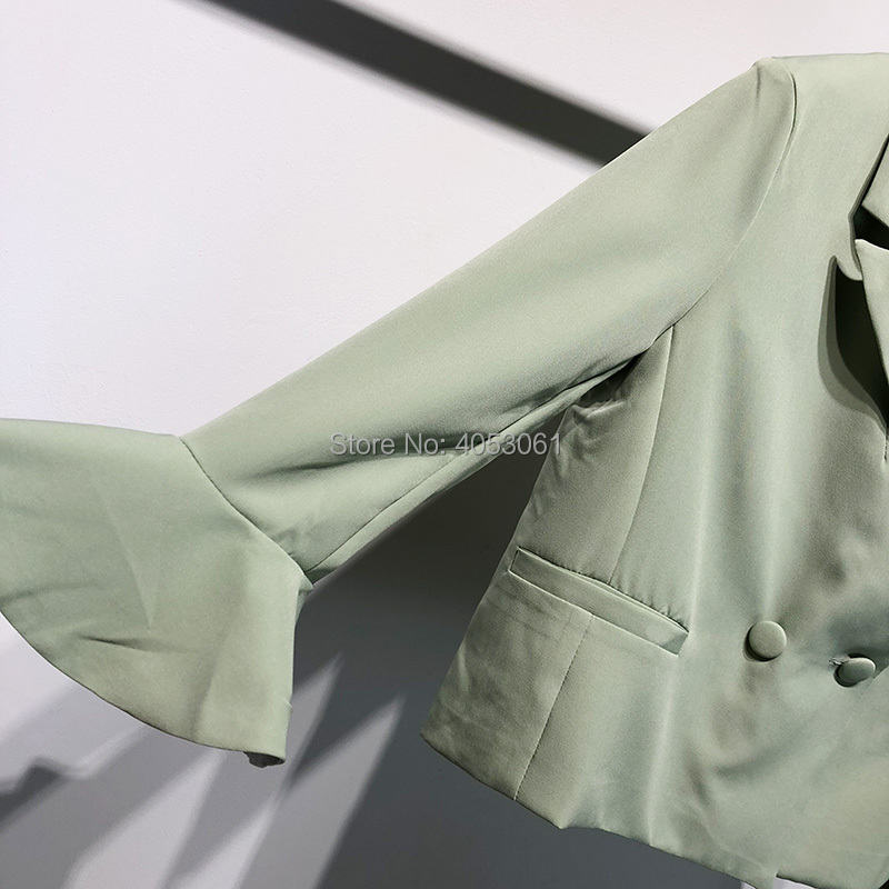 automne 2018 Vert Flare Femmes Cranté Automne Dames As Top Nouvelles Green Boutonnage Manches Clair Pic Blazer Col Solide Couleur Double femme Light OtwdBdqg