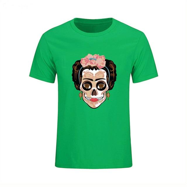 c22499137c05cc Frida Kahlo T shirt Men 2018 Fashion Sugar Skull Print T-shirt Harajuku  Men s Top Camiseta Masculina geeks popsocket viking dsq