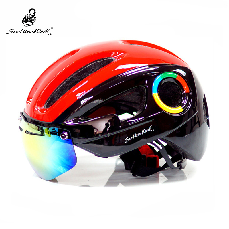 2018 Cycling Helmet 10 Air Vent Ultralight Bicycle Helmet with Cycling  Glasses Integrally-molded Road ... 821f674f8f