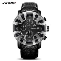 SINOBI Mens Sports Watches S Shock Quartz Watches Creative Eagle Claw Man Leather Military Waterproof Watches Relogio Masculino