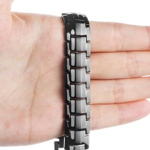 Image 5 - Hottime 591 ADET Enerji Taş Titanyum Çelik Manyetik Bilezik ve Bilezikler Siyah Gun Kaplama Germanyum Bilezik Moda Erkekler Takı