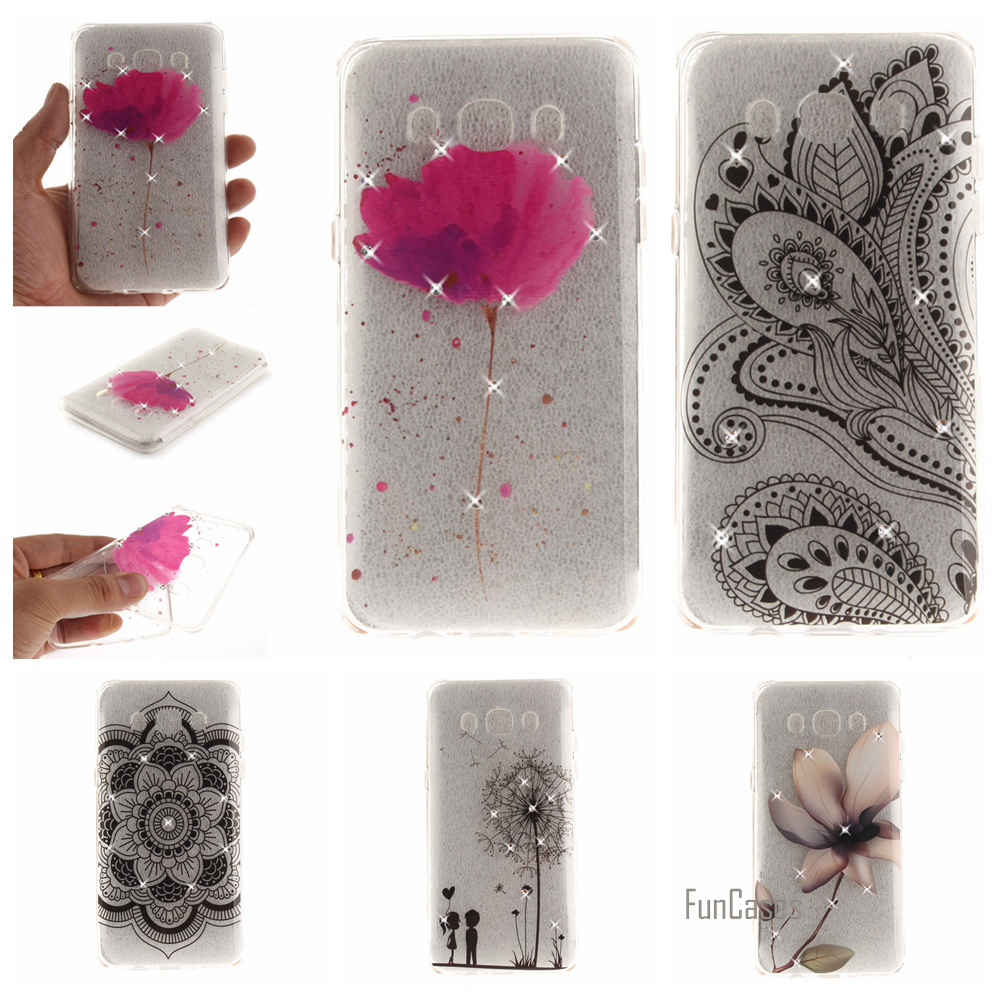 Flower Pattern Diamond Case For Samsung J2 Prime J3 J5 2016 Soft TPU IMD Case For Samsung Galaxy A5 2016 A3 2017 S7 Edge S8 Plus