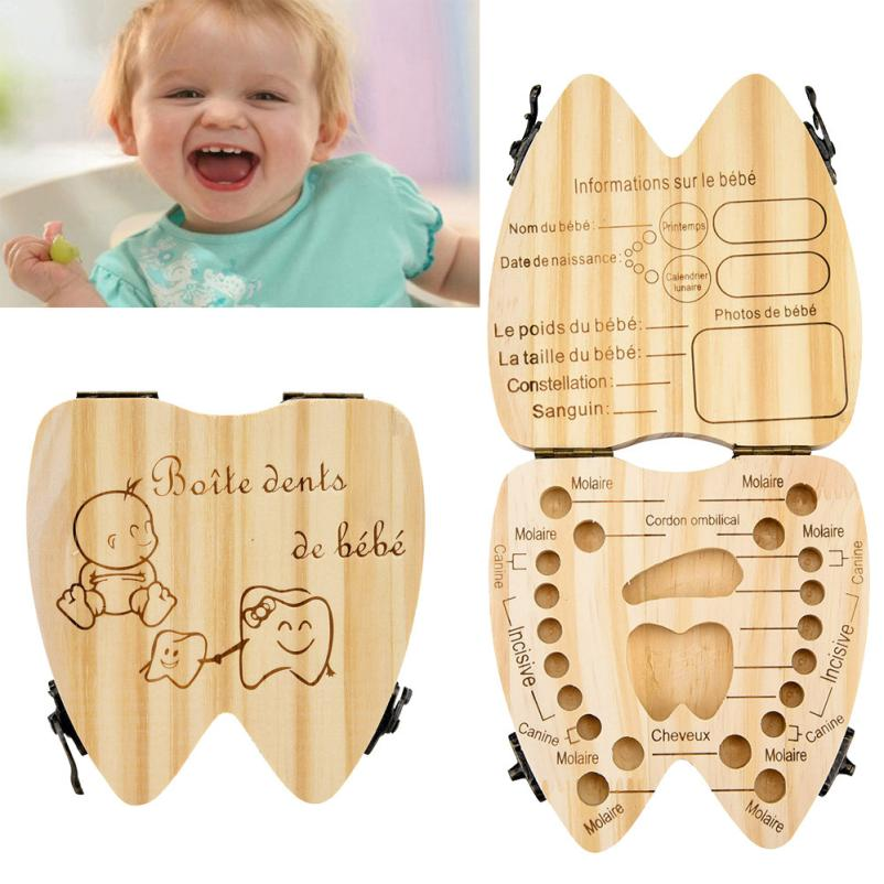 teeth box French Kids Tooth Box Organizer Baby Save Milk Teeth Wood Storage Box drop shipping 6.19