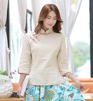 Shanghai Story/Однотонные блузки Китайская традиционная одежда из смешанной ткани, женская рубашка в стиле чонсам, Qipao, 4 цвета