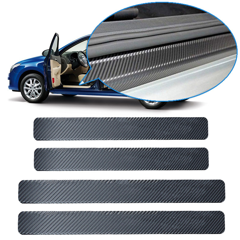 4PCS 60x6.8cm Car Door Sill Anti Kick Stickers Scuff Anti Scratch Carbon Fiber Auto Door Sticker Car Accessories Styling