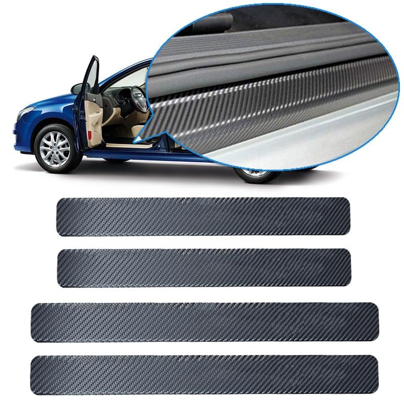 4PCS 60x6.8cm Car Door Sill Anti Kick Stickers Scuff Anti Scratch Carbon Fiber Auto Door Sticker Car Accessories Styling