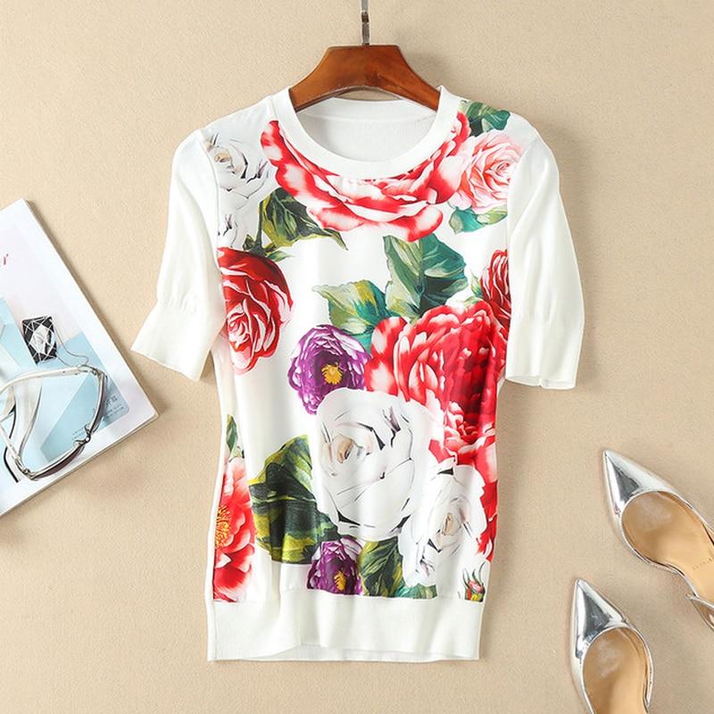 Red RoosaRosee 2019 Summer Runway Women s Floral Print Silk Knitted Patchwork White Shirt Tops Women