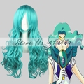 Free Shipping 65cm  Medium Sailor Moon wig Kaiou Michiru  Light Green Synthetic anime Wig cosplay Hair wigs