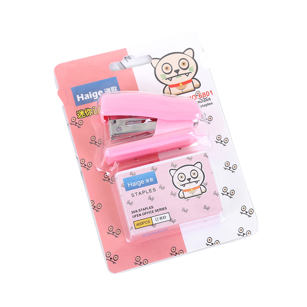 Home Stapler Set Cute Cartoon Stapler Mini Small Stapler Student Stationery Gift Come With 400pcs 24/6 Needle Nail