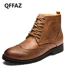 QFFAZ Retro Men Boots Pointed Toe Oxford Brogue Dress Shoes men's leather shoes lace up sapato masculino em couro