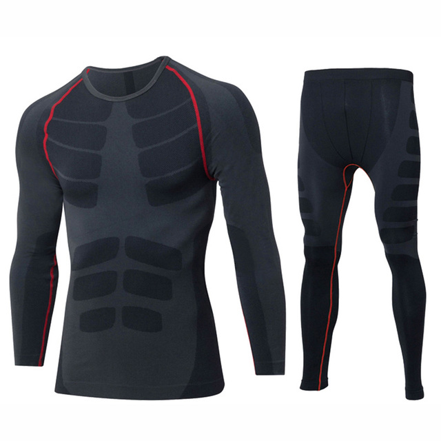 IEMUH Brand Men Outdoor Sport Winter Thermal Underwear Fitness Warm Thicken Polyester Running Hiking Ski Men Long Underwear Suit