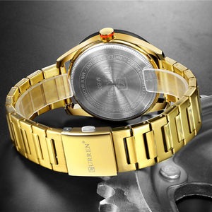 Image 5 - CURREN 2019 Watches for Men Casual Style Clock Date Quartz Wrist Watch with Stainless Steel Classic Design Round Dial 44 mm