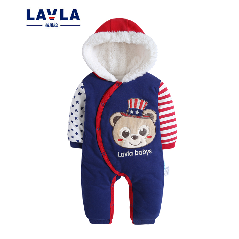 LAVLA Warm Thick Winter Knitted Sweater Baby Romper Sheep Fleece Newborn Boys Girls Jumpsuits Cartoon Cut Infant Hooded Outwear baby rompers winter newborn boys girls clothes toddler christmas warm thick costume roupa infant jumpsuits hooded outwear red