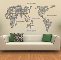 Free shipping Map of the world new fashion wall stickers decoration stickers wall decals