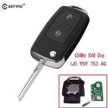 KEYYOU 2 Tasten Flip Remote Auto Key Fob Für VOLKSWAGEN VW Golf 4 5 Passat b5 b6 polo Touran 434 MHz ID48 Chip 1J0 959 753 AG