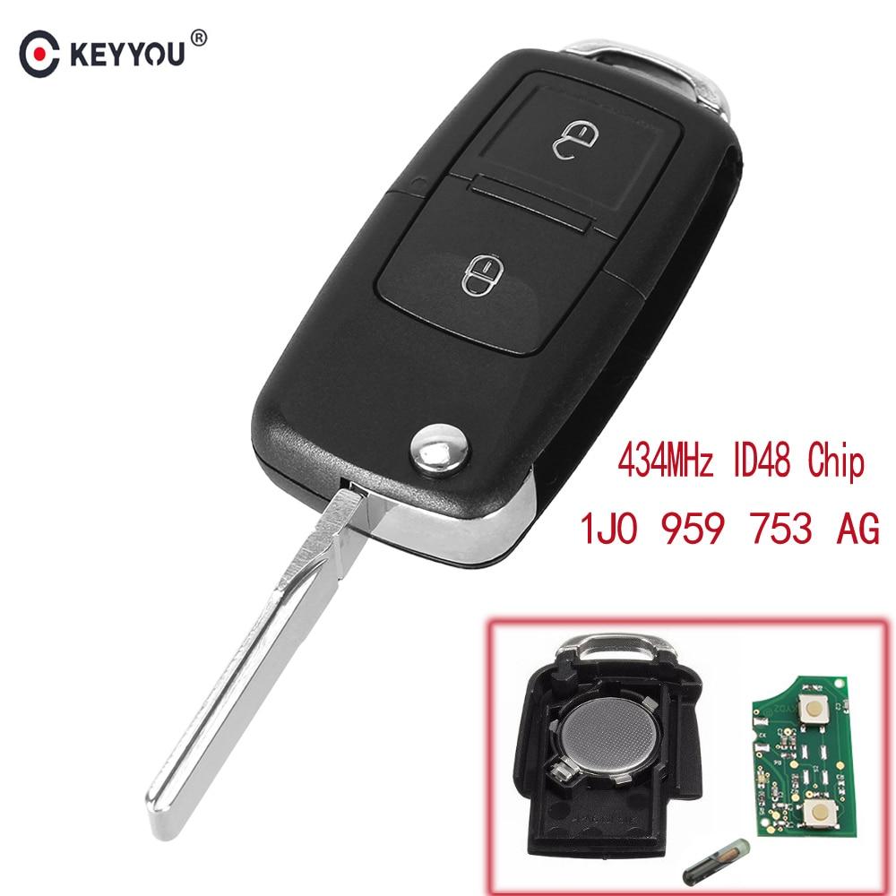 KEYYOU 2 boutons Flip télécommande voiture porte-clés pour VOLKSWAGEN VW Golf 4 5 Passat b5 b6 polo Touran 434 MHz ID48 puce 1J0 959 753 AG