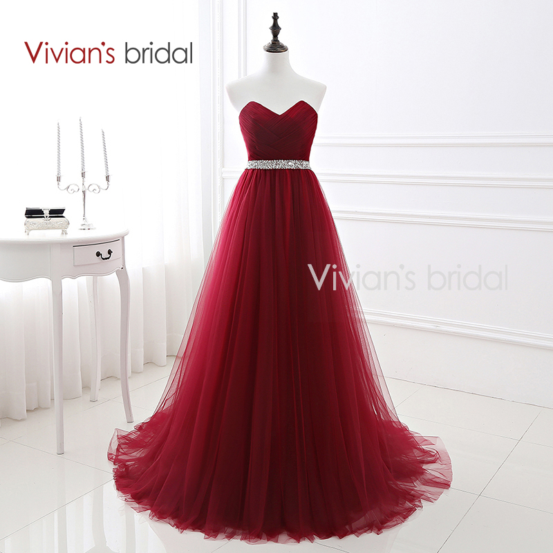 Buy Cheap Vivian's Bridal Sweetheart Burgundy Evening Dress A Line Backless Prom Dress Sequin Belt Tulle Formal Evening Gown 16422