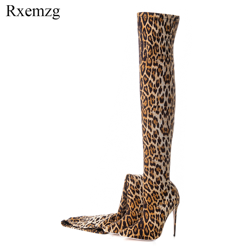 Rxemzg plus size 33 43 autumn sexy high heels fashion boots for woman over the knee