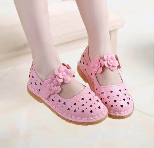 PU Leather Shoes For Girls Hook&Loop Breathable Pincess Girls Shoes Spring Footwear Beach Flats Eur Size 21-36 New